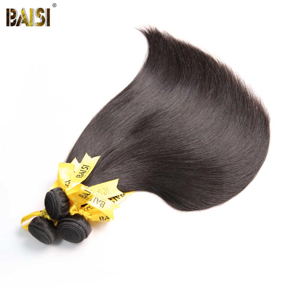 BAISI Hair Unprocessed Peruvian Human Hair 10A Raw Virgin Hair Straight 4 Bundles 100% Human Hair