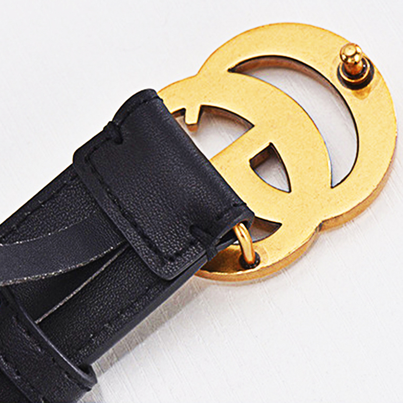 Faux Leather Famous Brand Buckle Double G Vintage Decorative Casual Tighten All-Match Lightweight Long Women   Belt
