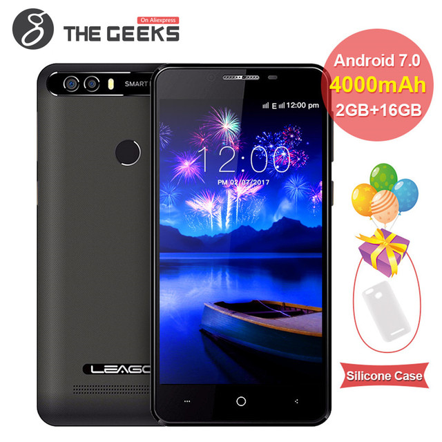 LEAGOO KIICAA POWER Dual Camera Mobile Phone 4000mAh 5.0 Inch MT6580A Quad Core 2GB RAM 16GB Android 7.0 Fingerprint Smartphone