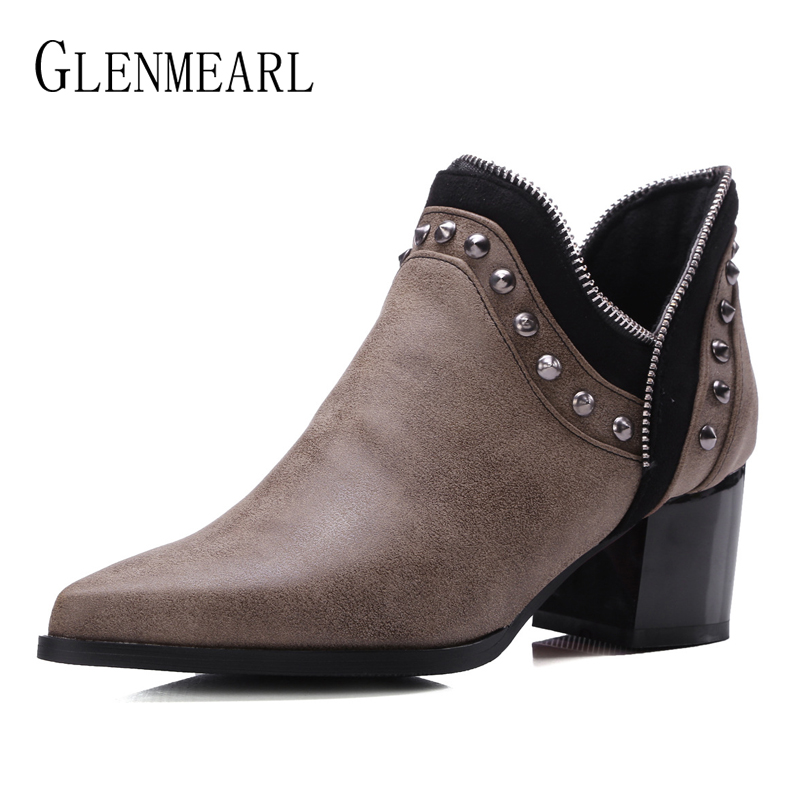Winter Shoes Woman Chelsea Boots Black Slip On Women Ankle Boots Warm Fashion Rivets Plus Size Thick Heels Casual Shoes FemaleDEWinter Shoes Woman Chelsea Boots Black Slip On Women Ankle Boots Warm Fashion Rivets Plus Size Thick Heels Casual Shoes FemaleDE