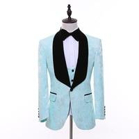 CH.KWOK Light Green Floral Pattern Men Suit Slim Fit Dress Groom Prom Tuxedo 3 Piece Custom Prom Blazer Terno Masculino