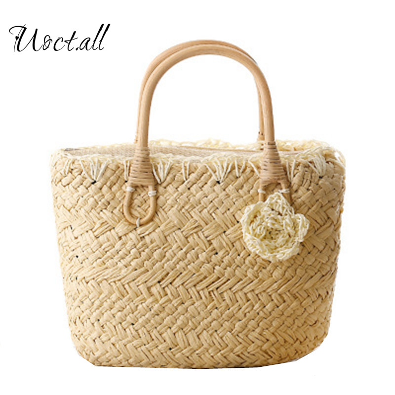New 2018 women handbags Cute little flower candy colored straw shuolder bag weave woven beach bag tote shopping bag