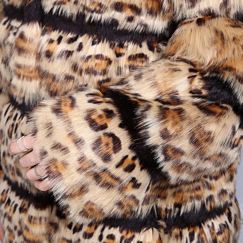 Rayé E027 Hiver Fourrure White Patchwork Renard Fausse Manteaux 2018 brown De Imitation Sexy Haute Léopard Qualité Imprimé Femme Femmes ngwaqOX