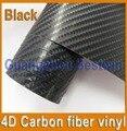Free shipping high quality 4D Carbon fiber vinyl  1.52m*0.3m car sticker with Air bubble free/air drain BW-9028