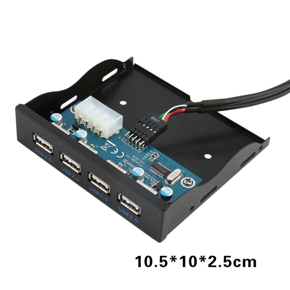 Nuevo multifuncional 3,5 pulgadas disquete frente a la bahía Panel 4 puertos HUB USB 2,0 expansión adaptador de conector móvil estante negro