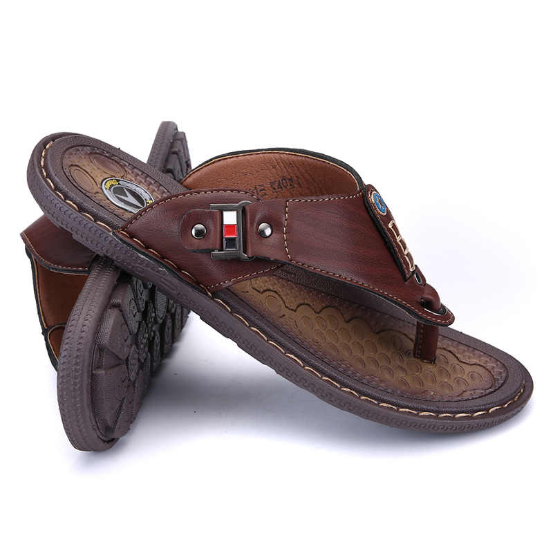 2019 г. Новая летняя обувь мужские пляжные вьетнамки высококачественные мужские спортивные сандалии кожаная модная дышащая обувь без застежки