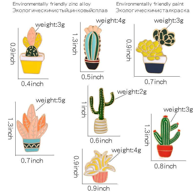 만화 여름 식물 핀 브로치 녹색 화분 선인장 에나멜 핀 귀여운 작은 옷깃 핀 배지 의류 가방 쥬얼리 선물