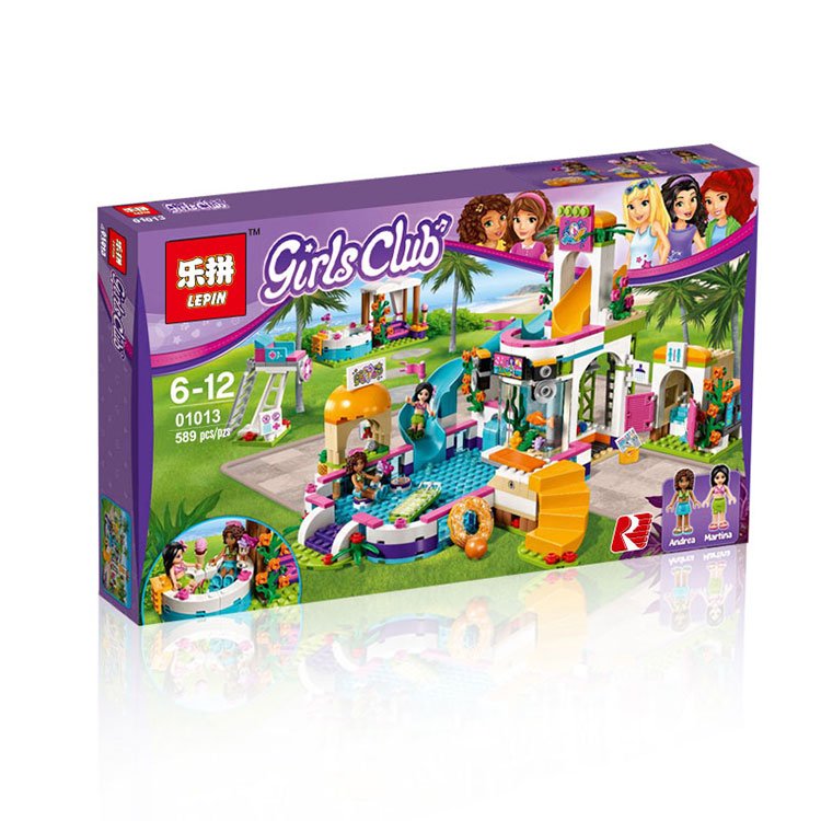 Model building kits compatible with lego city girls friends Heartlake Summer Pool 3D blocks Educational model building toys конструктор lego friends кондитерская стефани 41308