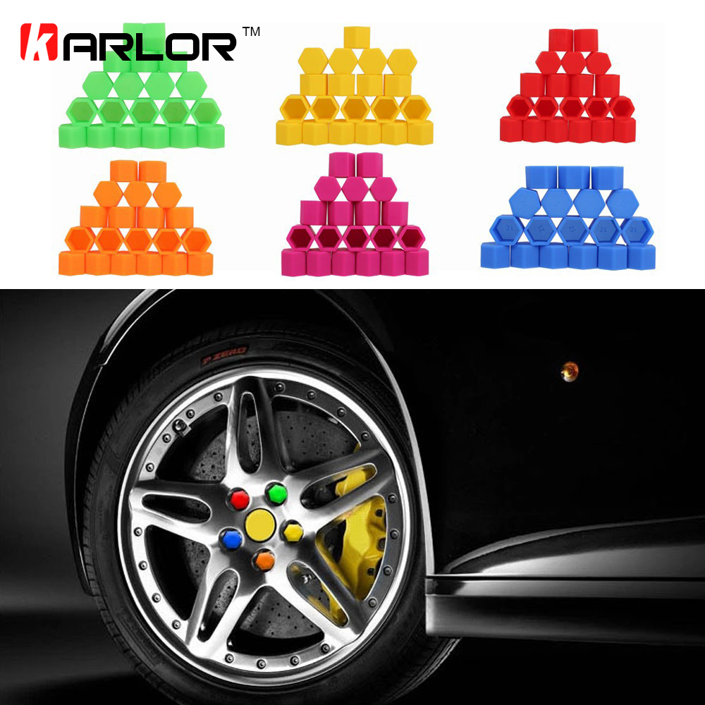 20Pcs 17/19/21mm <font><b>Silicone</b></font> Hexagonal Socket <font><b>Car</b></font> <font><b>Wheel</b></font> Hub Screw <font><b>Cover</b></font>, <font><b>Nut</b></font> Caps Bolt Rims Exterior Decoration & Protection image