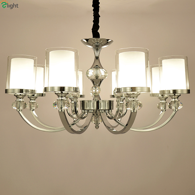 Contemporary Dining Room Chandeliers: Modern Crystal Led Chandeliers Lighting Chrome Metal