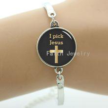 I Pick Jesus Christian faith bracelets Christianity God Cross Religious charms Science Galaxy Nebula art men women jewelry T429