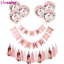 Balão de confete ouro rosado, feliz aniversário bandeira de festas decorações crianças adultos 1st 18 21 25 30 guirlanda