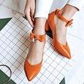 Новый Грейс Женщины Насосы Острым Носом Квадратные Каблуки Насосы Высокого Качества Черный Белый Orange Красный Зеленый Женской Обуви Размер США 3.5-10.5