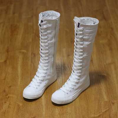 ФОТО Women Boots Canvas Lace Up Knee High Boots Women Motorcycle Flat Casual Tall Punk Shoes Woman Antiskid Side Zipper Shoes S4061