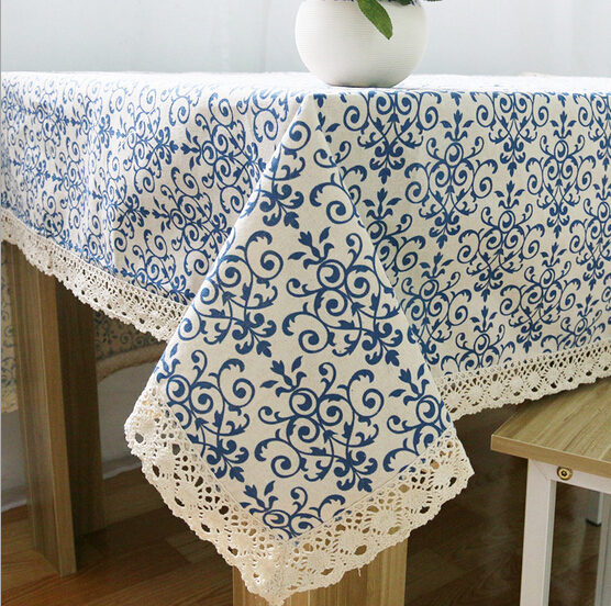 Home Hotel Dining/wedding Linen Blue Floral Print Table Cloth Cotton  Rectangular Lace Tablecloth Table