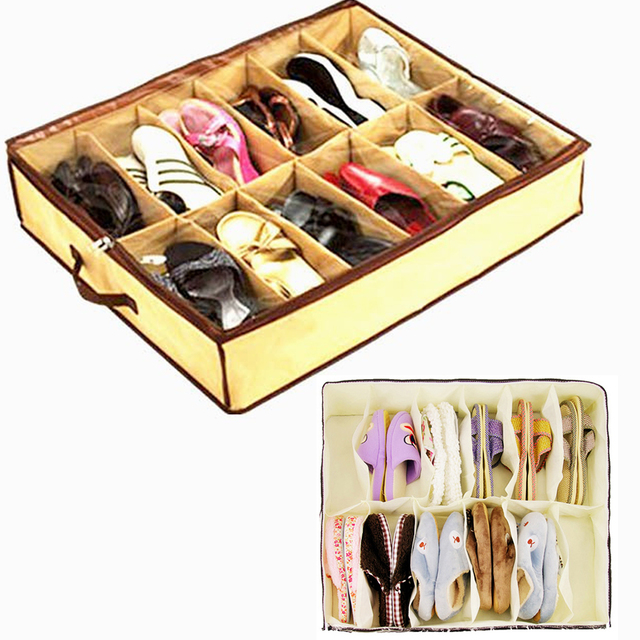 12 Cases Shoes Storage Organizer Holder Bag Box Under Bed Closet Brown