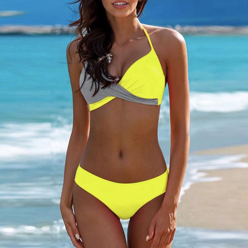 Women Split Bikini Solid color swimwear bikini push up bathing suits women two piece swimsuit
