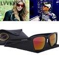 Lvvkee marca 2017 gafas de sol de los hombres/mujeres negro diseño de la lente recubrimiento gafas de sol uv400 gafas de sol del deporte al aire libre con la caja del logotipo