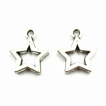 50Pcs Silver Tone Pendants For Bracelets Star Hollow Metal Craft Fashion Jewelry DIY Findings Charms 14mm цена