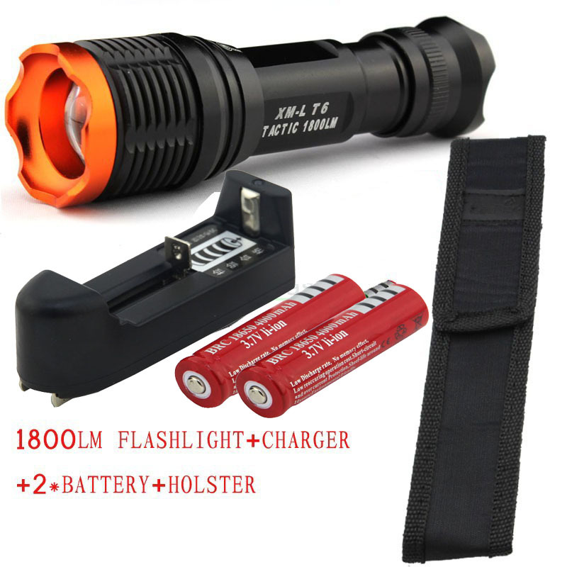 CREE XM-L T6 1800 Lumens 5 mode Zoomable Led flashlight torch + 2 * 18650 Rechargeable Battery + Charger+Holster Free Shipping e17 xm l t6 3800 lumens zoomable led flashlight torch light 2 4200mah 18650 rechargeable battery charger holster