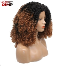 DLME Hair short afro kinky curly wig for white women or black American brown ombre lace front wigs synthetic fast shpping