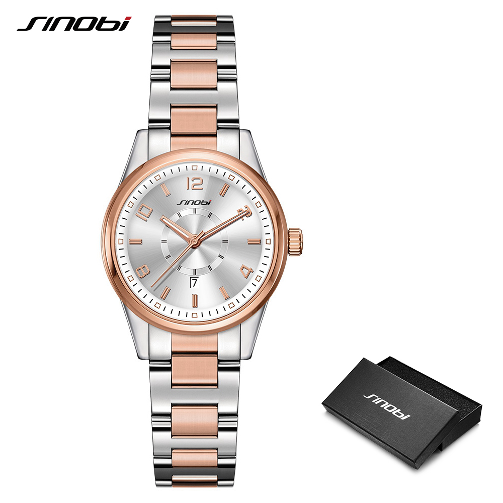2019 SINOBI Golden Women's Geneva Watches Fashion Bracelet Wristwatch Date Famous Brands Ladies Quartz Watch Clocks Montre Femme