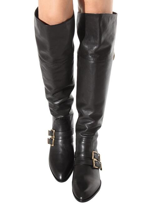 2017 Hot Women Fashion Sexy Black Buckles Punk Style Low Heels Rough Heel Over The Knee Thigh Biker Boots Motorcycle Boots 42 hot sales black frosted style motorcycle