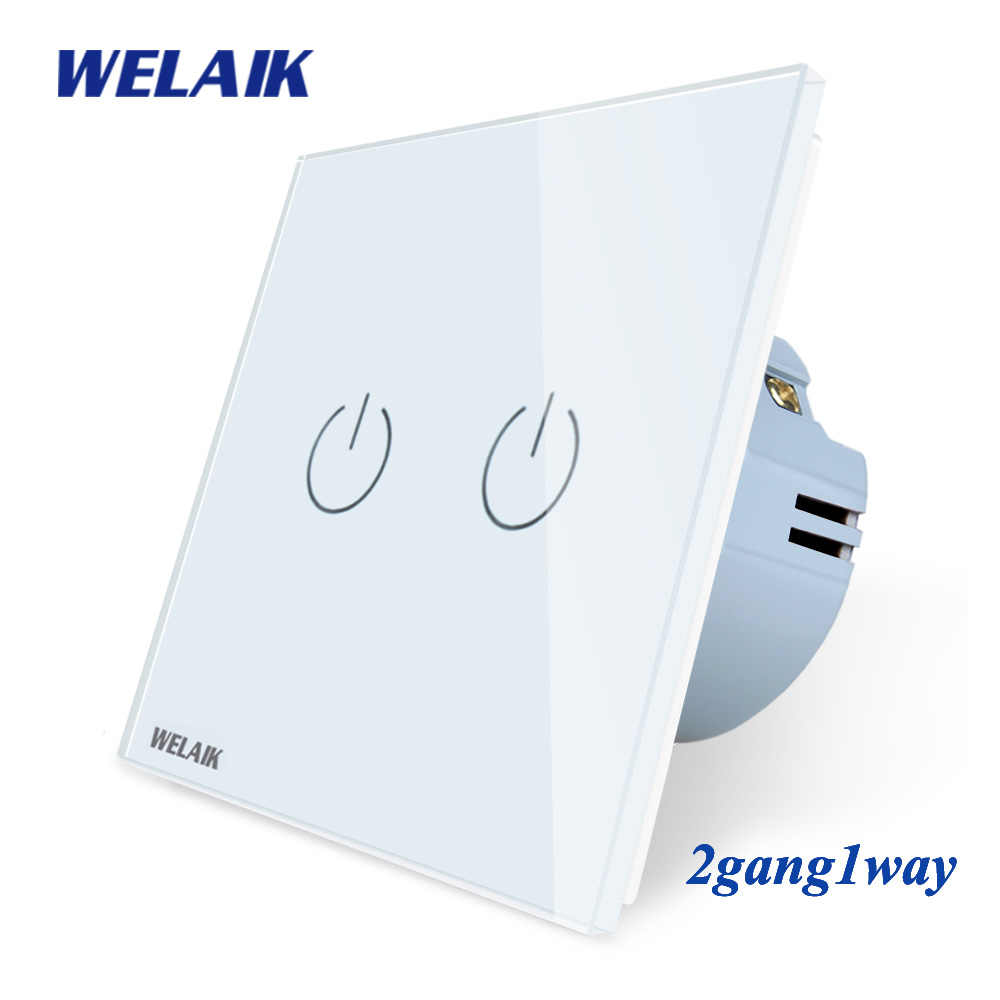WELAIK Crystal-Glass -Panel -Switch Wall -Switch EU Touch- Switch  Intelligent- Light Switch 2gang-1way AC110~250V A1921CW/B