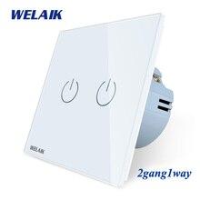 цена на WELAIK Crystal Glass Panel Switch White Wall Switch EU Touch Switch Screen Wall Light Switch 2gang1way AC110~250V A1921XW/B