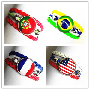 1pc National flag, the United States, Brazil, Portugal, France, Germany, Italy, England, Algerian Leather bracelet for women men(China)