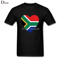 South Africa Flag Heart Tees Shirt For Men Online Designer Short Sleeve Cotton Custom Plus Size
