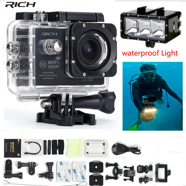 Action Camera 1080P 30fps Wifi Underwater 30M 170 Degree Lens Extreme Sport DV Camera+Waterproof Light
