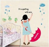 Moda raindrop dziewczyna kreskówka naklejki ścienne naklejki kreatywny przedszkole klasie