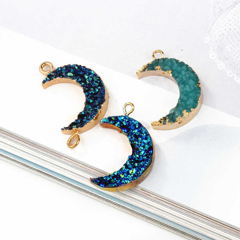 2pcs Trendy Moon Resin Pendant Charms Bracelet Findings Women DIY Earring Dangler Bracelet Hanging Accessory F238