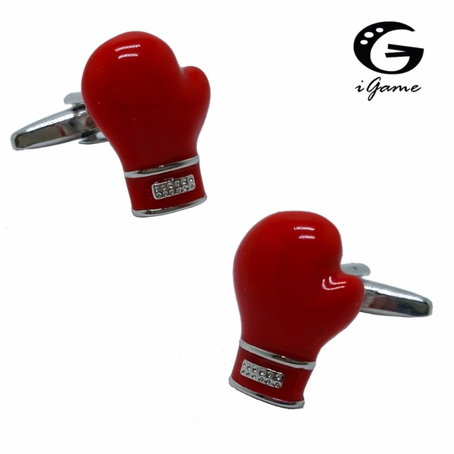 Igame Boxing Gloves Cuff Links Red Color Brass Material Design