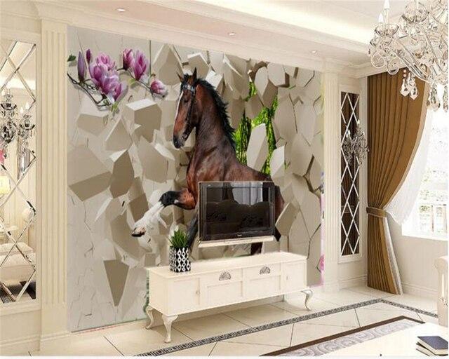 Beibehang papel de parede grijs paarden grote muurschildering tv