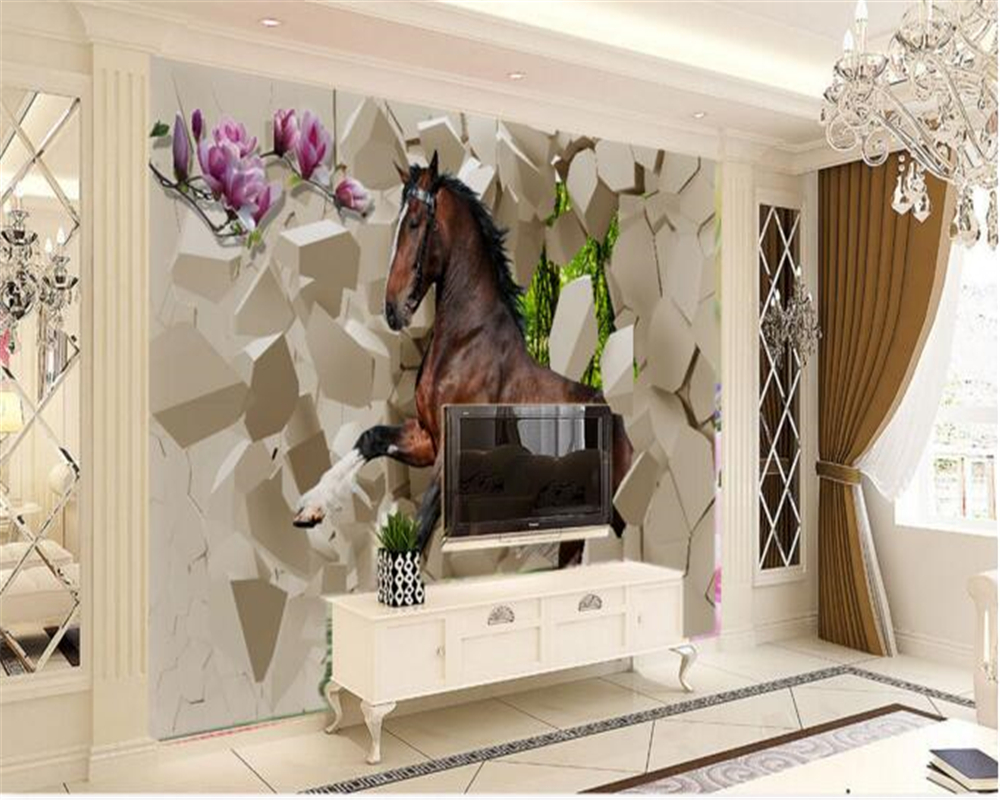 beibehang papel de parede Gray horses large mural TV wall decoration painting wallpaper for walls 3 d wall papers home decor beibehang papel de parede 3d cosmic sky luxury modern wallpaper for walls wall mural wall paper living room home decor painting