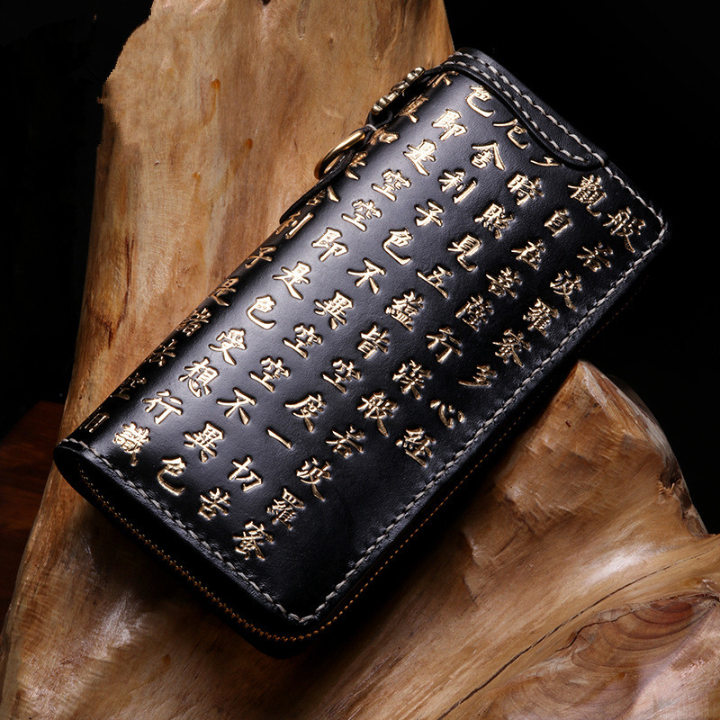 Handmade Genuine Leather Carving Chinese Characters Wallets Bag Purses Women Men Long Clutch Vegetable Tanned Leather Wallet luxury brand vintage handmade genuine vegetable tanned cow leather men women long zipper wallet purse wallets clutch bag for man