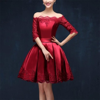 2017 New Short Evening Dresses with Half Sleeves Elegant Boat Neck Women Girls Ball Prom Party Pageant Graduation Formal Dress