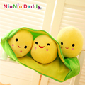 9.8'' Peas Pillow  Super Cute Little Peas Stuffed Plush Doll 3 peas in a pod pea PlantsToy Free Shipping 2014021A-25cm