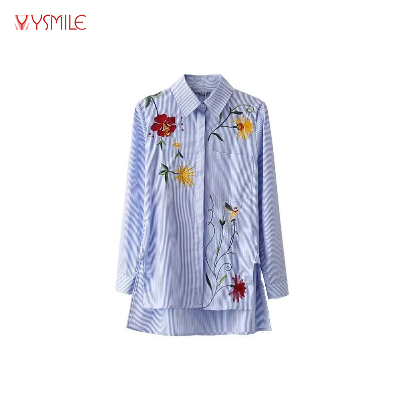 YSMILE Y Women Flower Embroidery Long Sleeve Turn-down Collar Trends White Blue Striped Shirts Ladies Fashion Cotton Tops Blusas
