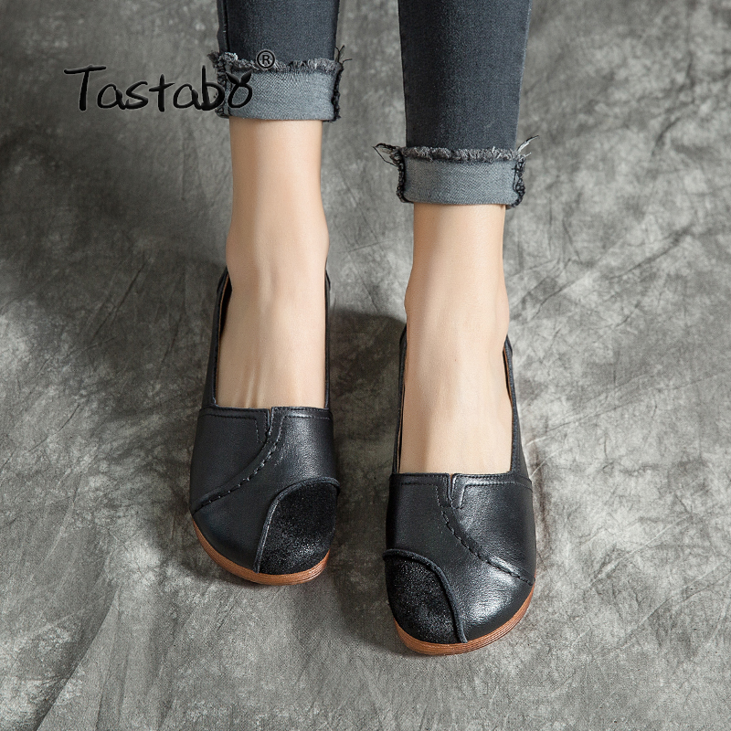 Tastabo Genuine Leather Shoes Handmade Soft Comfortable Shoes Black brown flats Casual vintage shoes Suitable for