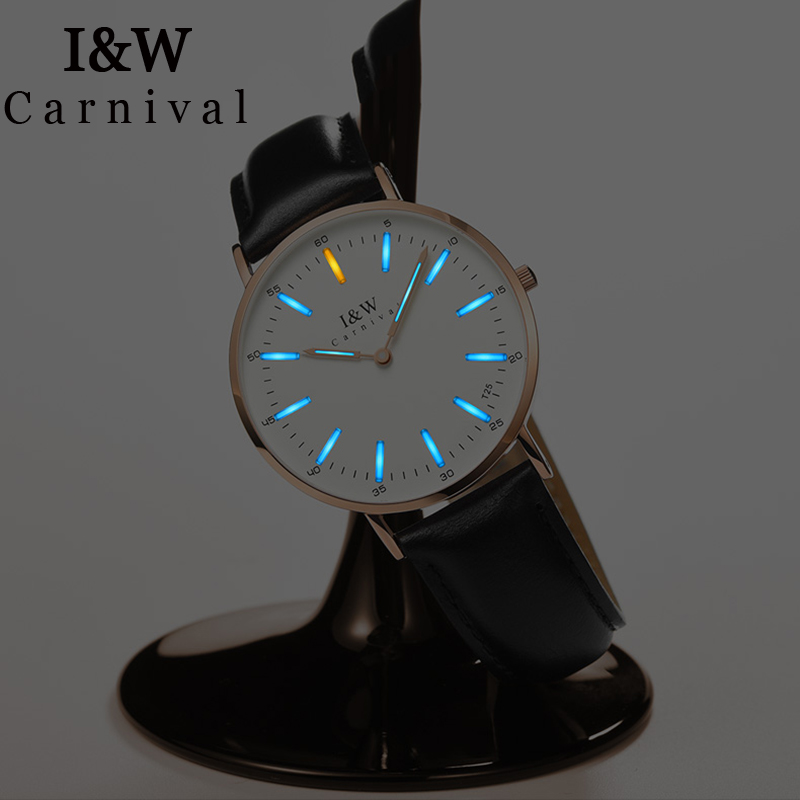I&W T25 Tritium Luminous Watch Women Carnival Ladies Watches Top Brand Luxury Waterproof Ultra Thin Wristwatch relogio feminino carnival new fashion casual tritium luminous watch women ultrathin quartz watches top brand luxury waterproof relogio feminino