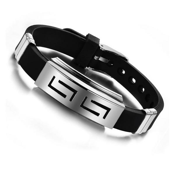 2018 Explosion models Fashion Wristband black Punk Rubber Silicone Stainless Ste