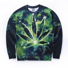 New Arrivals Men/women 3d sweatshirt space galaxy hoodies digital print green leaves autumn winter thin tops