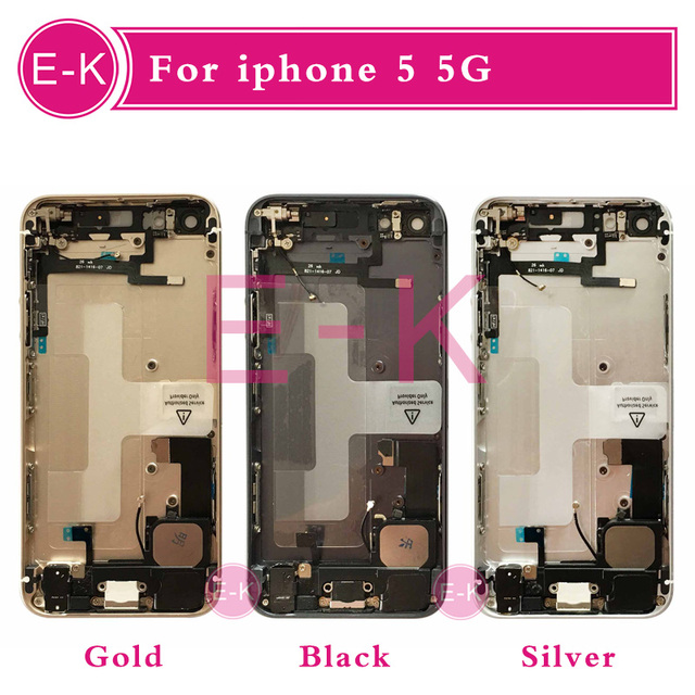 Gold Silver Black Rose Gold New Complete For iphone 5 5G Full Middle Frame Housing Cover Assembly Flex Cable Free Custom IMEI