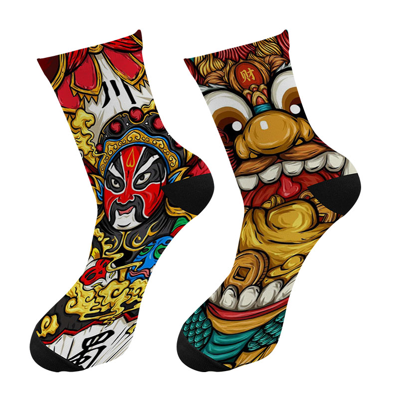 New 3D Printed Chinese Sichuan Opera Painting Crew Socks Men Funny Ukiyo-e Lion Graffiti Long Socks Men's Dress Tube Socks