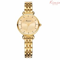 KIMIO Simple Small Double Dial Gold Bracelet Quartz Watches Women Fashion Watch 2017 Brand Ladies Watch