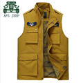 AFS JEEP 2016 Autumn Professional New Designer Mutil Pockets Sleeveless Jacket,Yellow Green Dark Blue Loose Waterproof Vest