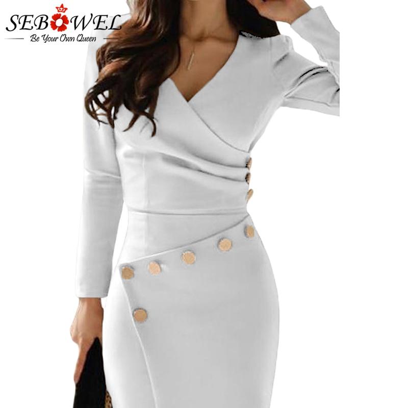 SEBOWEL Elegant Khaki Button Bodycon Midi Dress Women Long Sleeve ... 7ea28c90c3bc